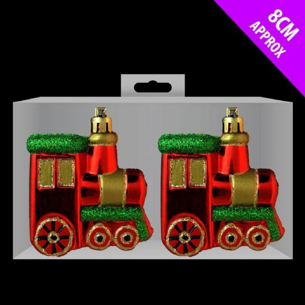 2x Glitter Trains Christmas Tree Baubles Decorations Polar Express